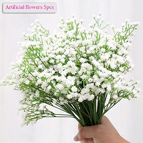 Artificial Flowers, Meiwo 5 Pcs Real Touch Like Artificial Gypsophila Flowers / Baby Breath Bouquets For Home Wedding Party Decor (Baby Flower Arrangements)