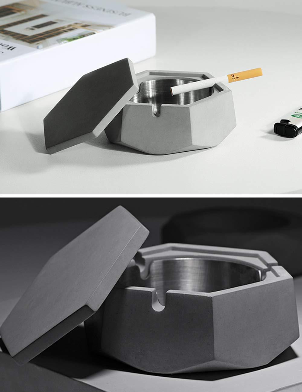 SPDYCESS Cenicero con Tapa Exterior Cenicero de Cigarrillos para Fumadores Cenicero a Prueba de Viento con la Base Antideslizante para Uso Interior y Exterior