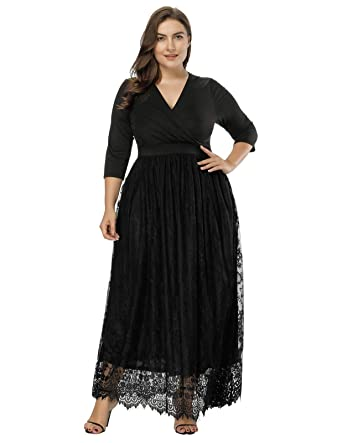 7dff43c1f9bd6 Women's Plus Size Lace 3/4 Sleeves Evening Gown Party Long Maxi Dress Black  1X