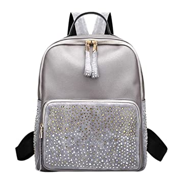 9186fe9faa0 Amazon.com   Leisure Style Women Backpack With Rhinestone PU Leather Female  Backpacks High Capacity Travel Back Pack Bags Silver   Backpacks