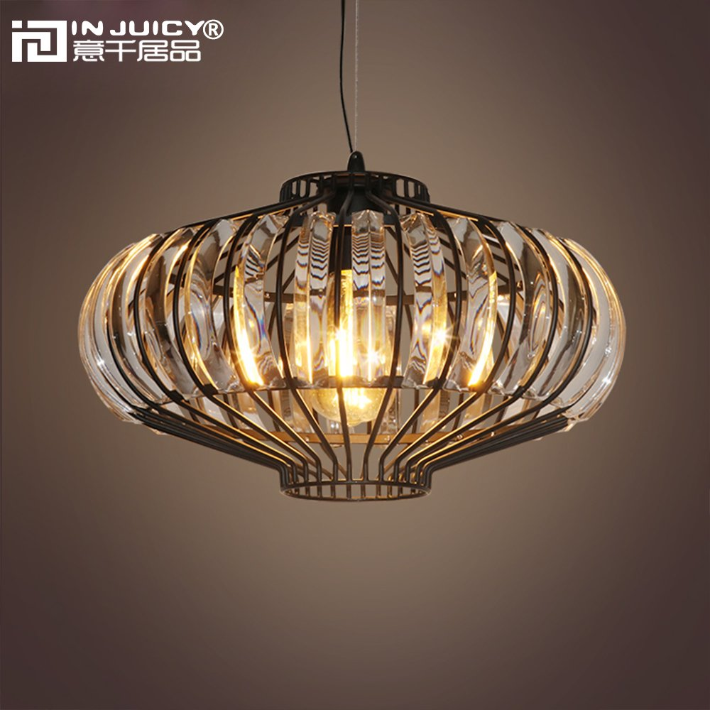 IJ INJUICY Vintage Industrial K9 Crystal Metal Pendant Pumpkin Pendant Lights Fixtures for Cafe Bar Dining Room Restaurants Kitchen Lighting Decor Gift