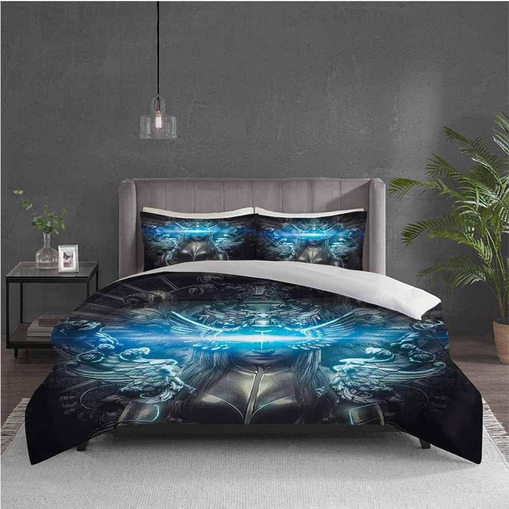 Fantasy World 3-Pack (1 Duvet Cover and 2 Pillowcases) Bedding Princess in Royal Gothic Silver Dress Futuristic Female Figure Fairy Muse Image Polyester (Twin) Grey