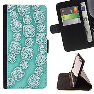Momo Phone Case / Flip Funda de Cuero Case Cover - Piedras preciosas gemas verdes Bling - Sony Xperia Z5 5.2 Inch (Not for Z5 Premium 5.5 Inch)