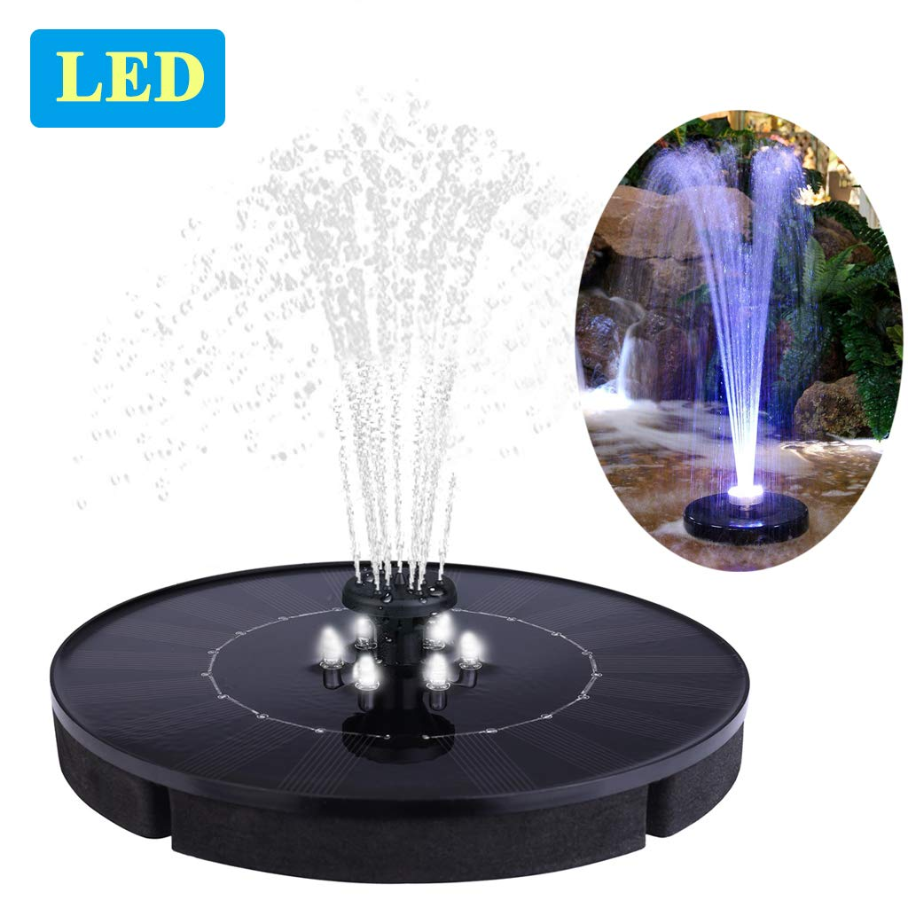 Immuson Solar Fountain Pump with LED Lights, 2.4W Free Standing Bird Bath Fountain Water Pump, Outdoor Floating Fountain Pump Kit for Garden, Pool, Pond, Patio Ideal Decoration, 7'' Diameter by Immuson
