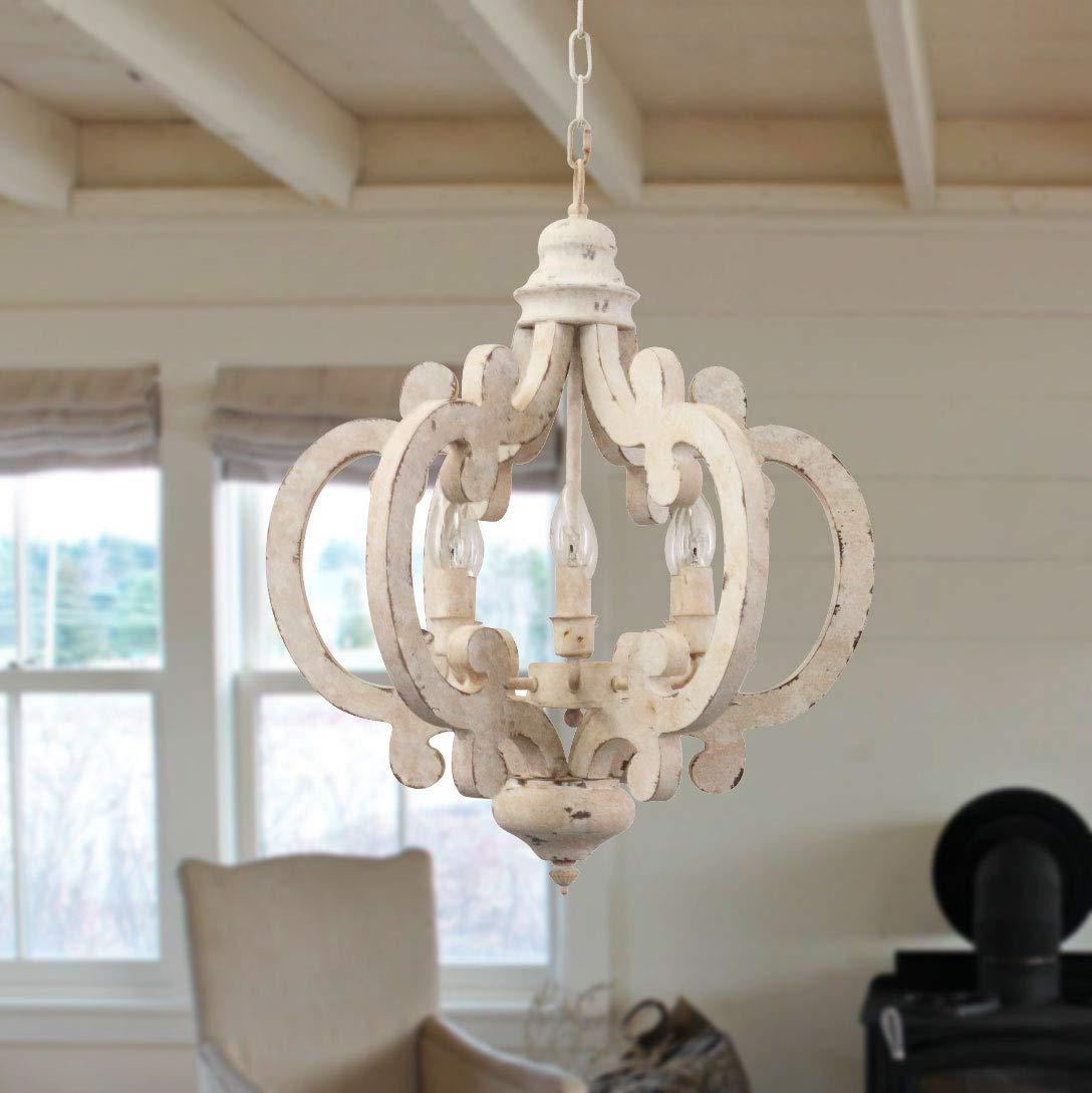 Cottage Chic Crown Wood Chandelier, 6-Light Farmhouse Wooden Pendant
