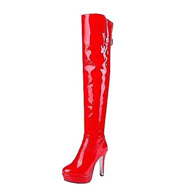YE Damen Overkneestiefel Lack Stiletto High Heels Plateau mit Reißverschluss 12cm Absatz Elegant Schuhe MEyT19