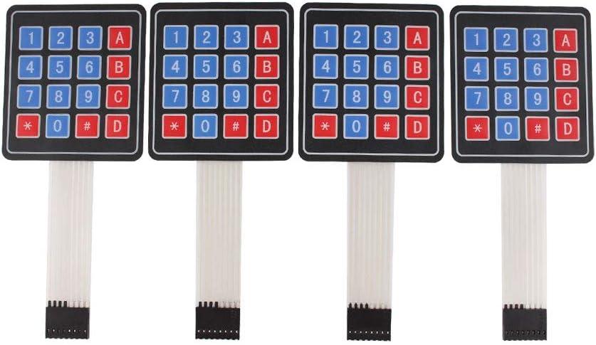 YETAIDA 4 Pack Arduino Keypad,Universial 4x4 Matrix Array Keyboard 16 Key Membrane Switch Keypad for Arduino DIY Starter Kit