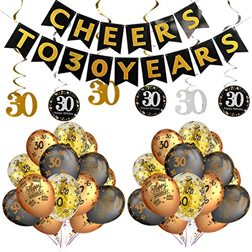 (30th Birthday Party Decorations Kit- Cheers to 30 Years Banner,Sparkling Celebration 30 Hanging Swirls,Gold and Black Latex 30 Birthday Balloons,Perfect for 30 Years Old Party Decorations Supplies)