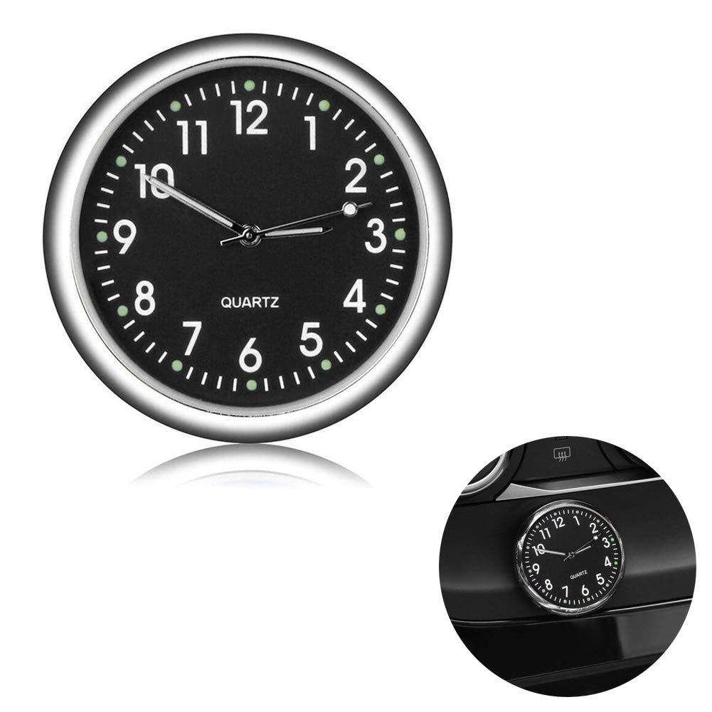 White Auto Mini leuchtende Uhr Enjoyfeel Universal Quarz Analoguhr Stick-On Clock f/ür Auto Boot Bike Home