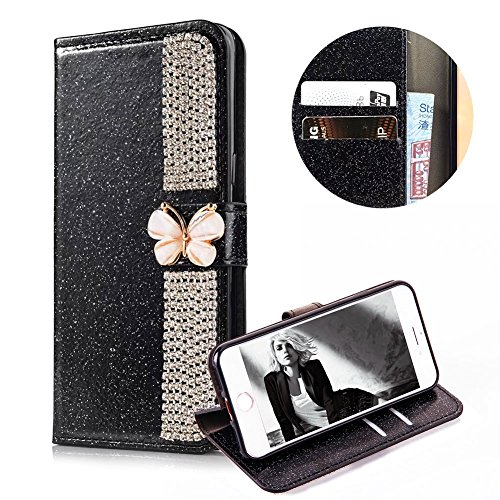 - Luxury 3D Crystal Butterfly PU Leather Cover for iPhone 6 6S, MOIKY Handmade Flip Wallet Shell Soft TPU Protect Ultra Slim Kickstand Magnetic Card Slots Case for iPhone 6 6S - Shiny Black