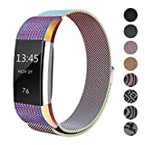 SWEES for Fitbit Charge 2 Bands for Women Small, Replacement Small (5.5'' - 8.5'') Stainless Steel Metal Magnetic Wristband Watch Band for Fitbit Charge 2, Black, Rose Gold, Silver, Colorful