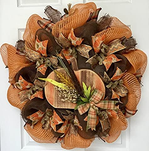 Distressed Wood Country Pumpkin Handmade Deco Mesh Harvest Wreath - Woods Mesh