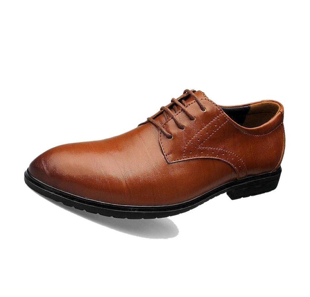 Zapatos De Cuero De Otoño Invierno Hombres Negocio Informal Botas De Deportes De Color De Punta Redonda Suave Puntiagudo Brown