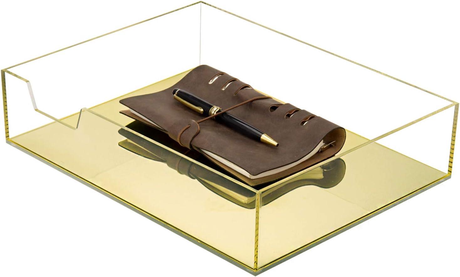 MyGift Gold Acrylic Office Desktop Paper/File Folder/Document Storage, Letter Organizer Tray