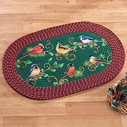 Collections Etc Winter Bird Christmas Braided Oval Accent Rug Decoration
