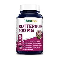 Butterbur Extract 100mg 200 Veggie Caps (Non-GMO, Vegetarian & Gluten Free) - Headache...