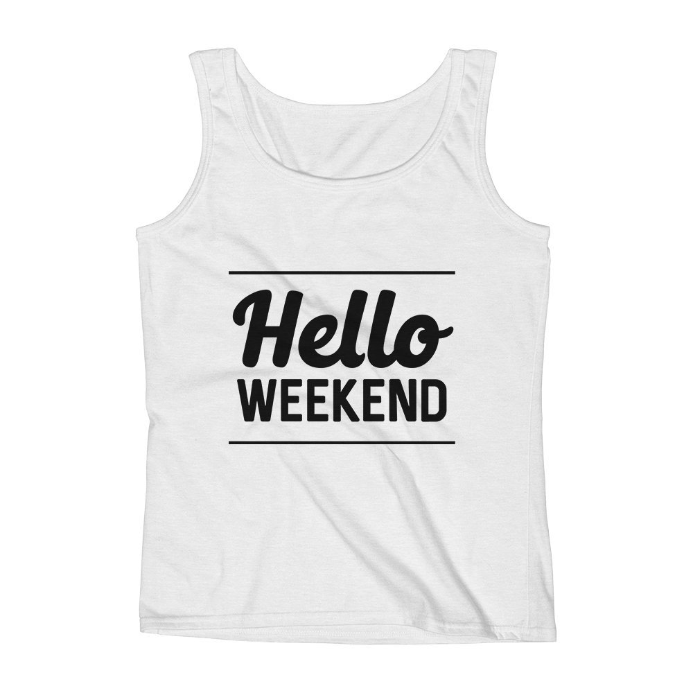 Mad Over Shirts Hello Weekend Day Off Holiday Unisex Premium Tank Top