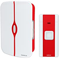 Havells Tango Plastic Wireless Digital Doorbell (White and Red)