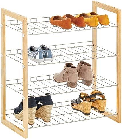 mDesign Estantería para zapatos con 4 baldas – Mueble zapatero compacto en madera y metal para el pasillo o el dormitorio – Organizador de calzado ...