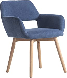 WisHom Small Modern Living Dining Room Accent Arm Chairs Fabric Mid-Century Upholstered Side Seat Club Guest with Solid Wood Legs (1, Blue)