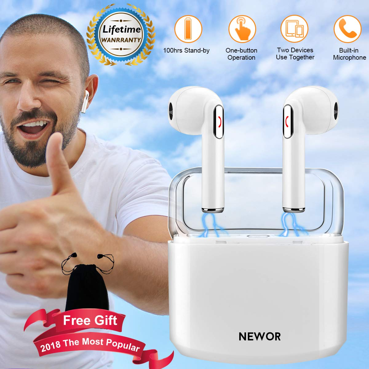 Wireless Earbuds Bluetooth Headphones Stereo Bluetooth Earbud Wireless Earphones Mini In-Ear Headphones Sweatproof Sport Earbud Noise Cancel Mic Charging Case (White)