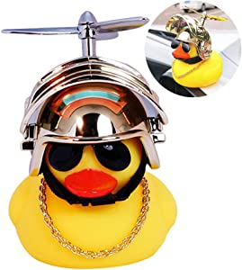 wonuu Rubber Duck Toy Car Ornaments Yellow Duck Car Dashboard Decorations with Propeller Helmet for Adults, Kids, Women, Men