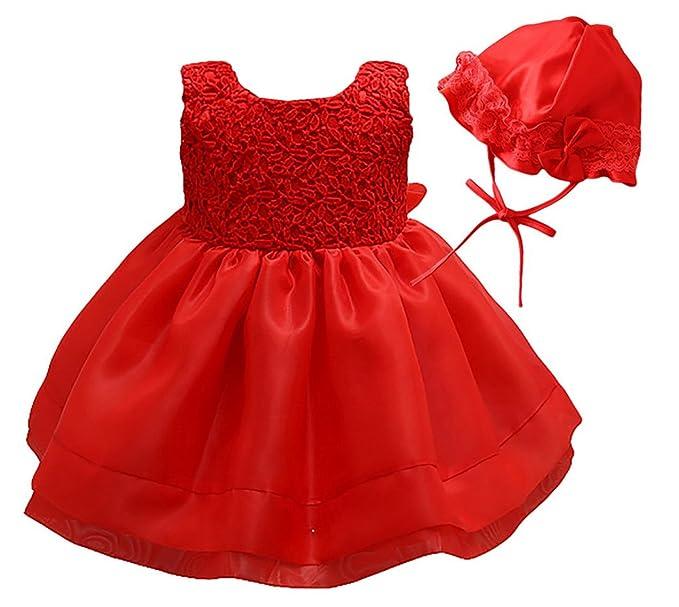 Happy Cherry Bebés Niñas Vestido Encaje Tutú Traje de Fiesta Princesas Dress con Sombrero para Cumpleaños Boda Bautismo 6 Tallas Color Rojo/Beige a ...