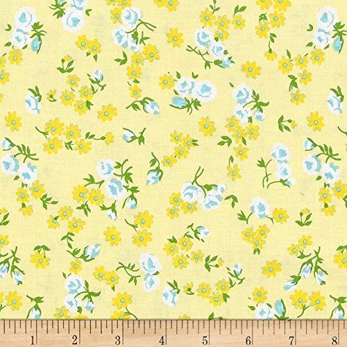 Blue Yellow Fabric (Riley Blake Dainty Darling Daisy Yellow Fabric By The Yard)