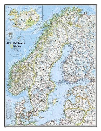 National Geographic: Scandinavia Classic Wall Map (23.5 x 30.25 inches) (National Geographic...
