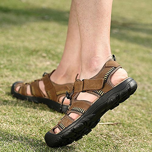 Da Brown Trekking Escursione Da In Flip Spiaggia Arrampicata Flop Uomo Estiva Pelle Size Pantofole Shoe Sandali Large Scarpe Water Da Da Da Slipper qAwBXw6