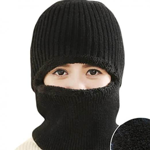 28fe7329244 Amazon.com  Winter Warmer Windproof Mask Hat Knitted Hat Visor Beanie Neck  Hat for Men and Women(Black)  Clothing