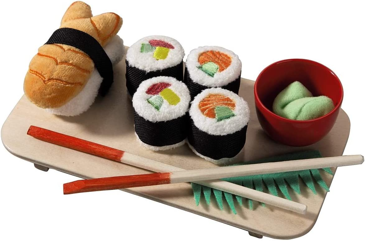 HABA Biofino Sushi Soft Play Food 10 Piece Set with Serving Board and Chopsticks