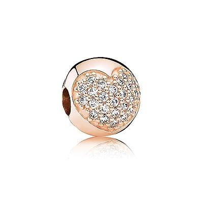e92772851f2d Pandora Charm clip corazón de Pavé Rose  Amazon.es  Joyería