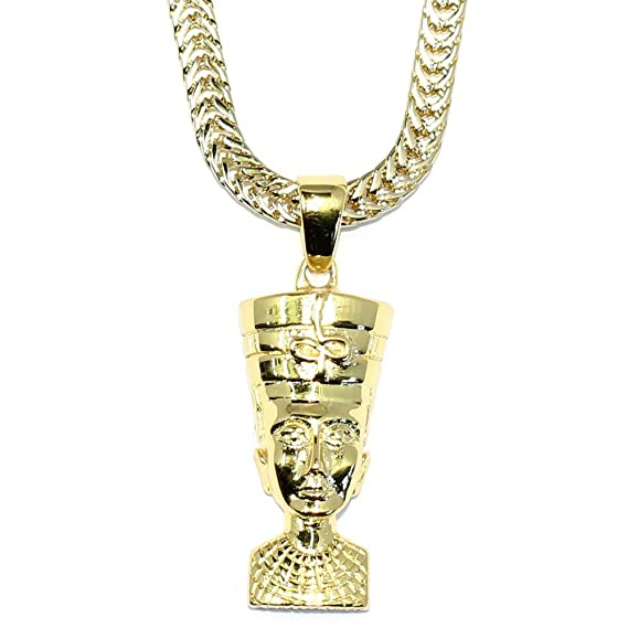 Gold queen nefertiti pendant with 18 kt gold plated flat franco box gold queen nefertiti pendant with 18 kt gold plated flat franco box chain mozeypictures Gallery