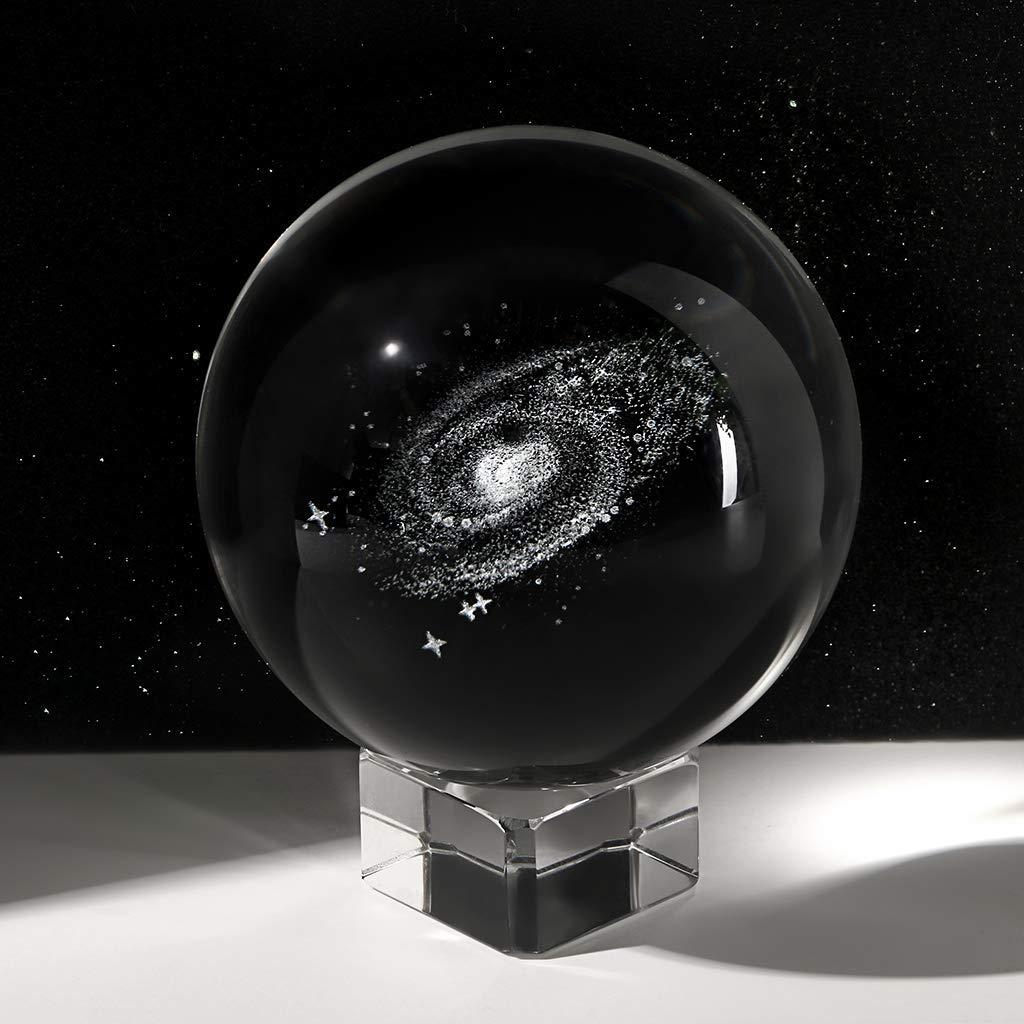 Dahuy 3D Galaxy Kristallkugel klare Kristallkugel Galaxy Glaskugel Kugel mit Basis Bestes Geburtstagsgeschenk f/ür Kinder