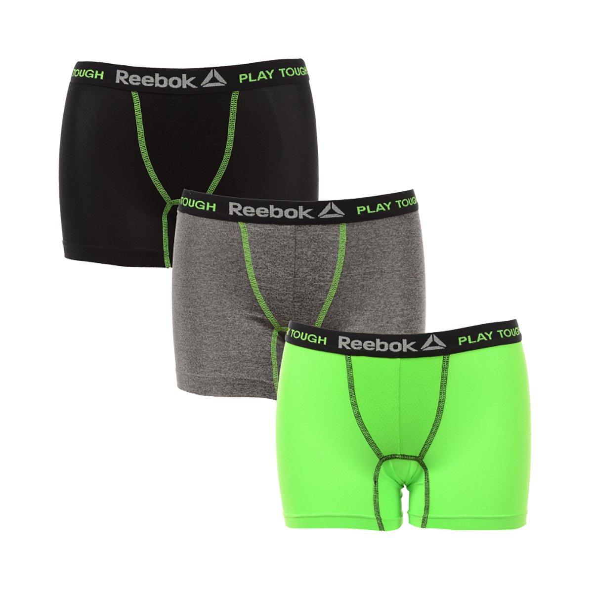 9ee0228c Reebok Boys 3 Pack Boys Performance Boxer Brief, Black/Grey/Lime, Large  (12/14)