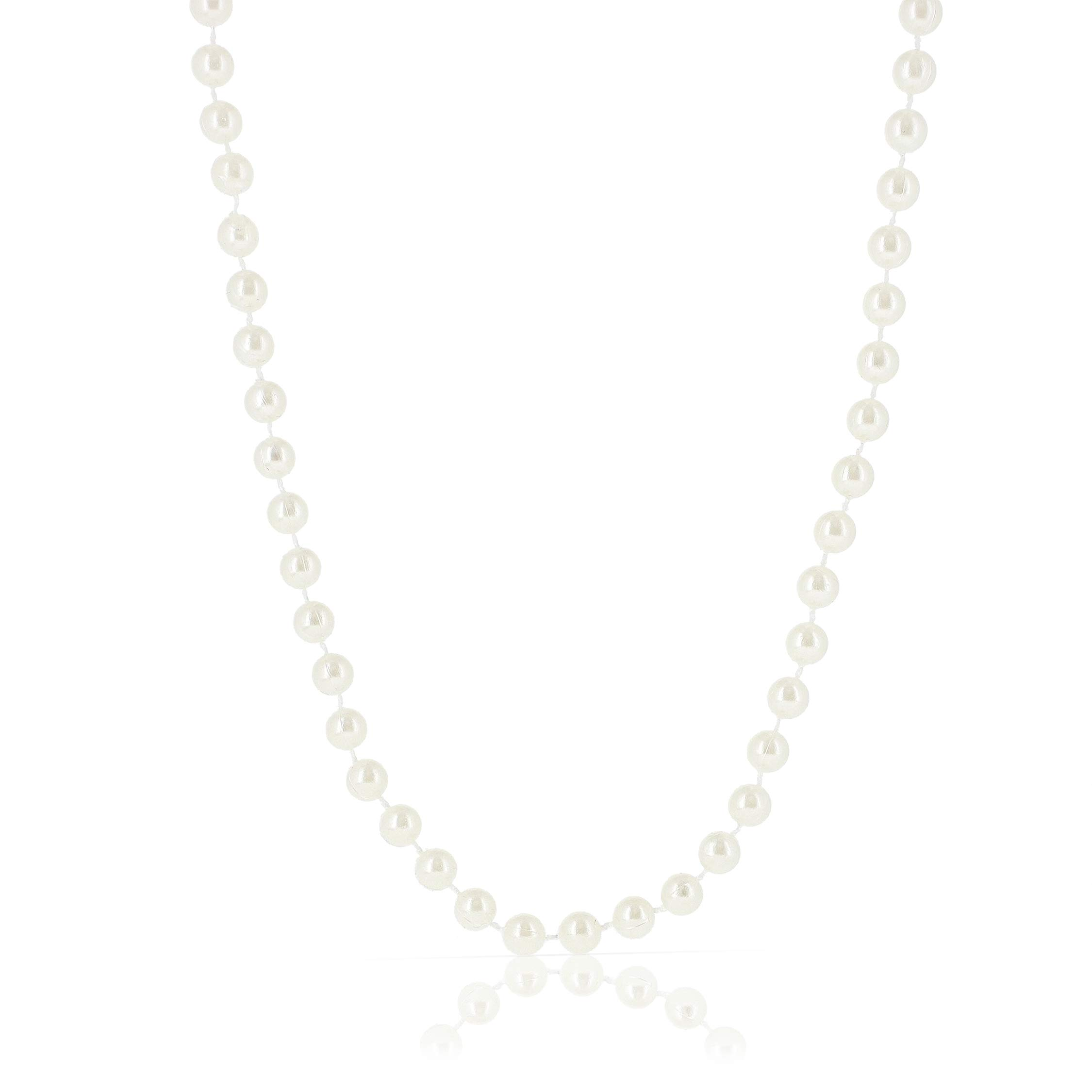 Blue Panda 24-Pack Bulk Fake Long Pearl Bead Necklace Costume Jewelry, 48 Inches