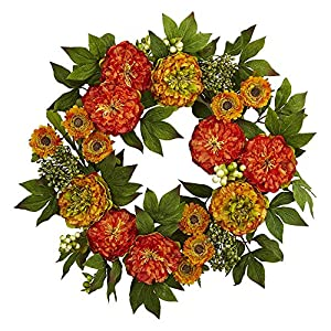 """Nearly Natural 4580 24"""" Peony and Mum Wreath 119"""