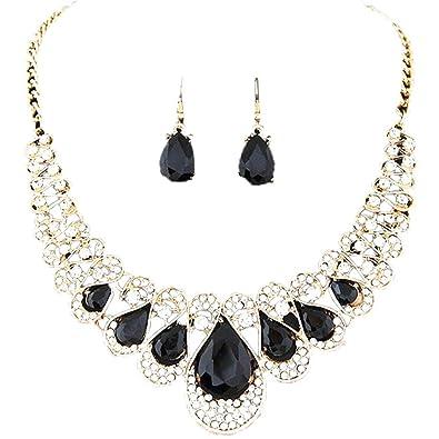 Start Women Girls 1Set Bohemia Crystal Chain Rhinestone Necklace + Earrings  Jewelry Set (Black) 496365d835e3