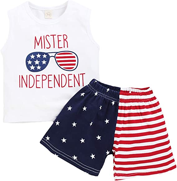 4th of July Baby Girl Outfit Sleeveless Vest Top with Shorts Independence Day Infant Summer Clothes Set