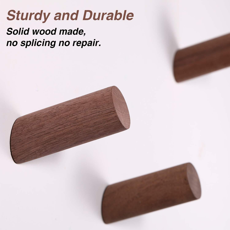 Amazon.com: Perchero de pared de madera natural, 6 piezas ...