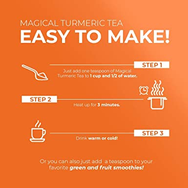 Jessica Wellness Magical Turmeric Curcumin Tea - Organic Turmeric Curcumin With Bioperine | 50 Servings | 9000 Times More Powerful Than Turmeric From ...