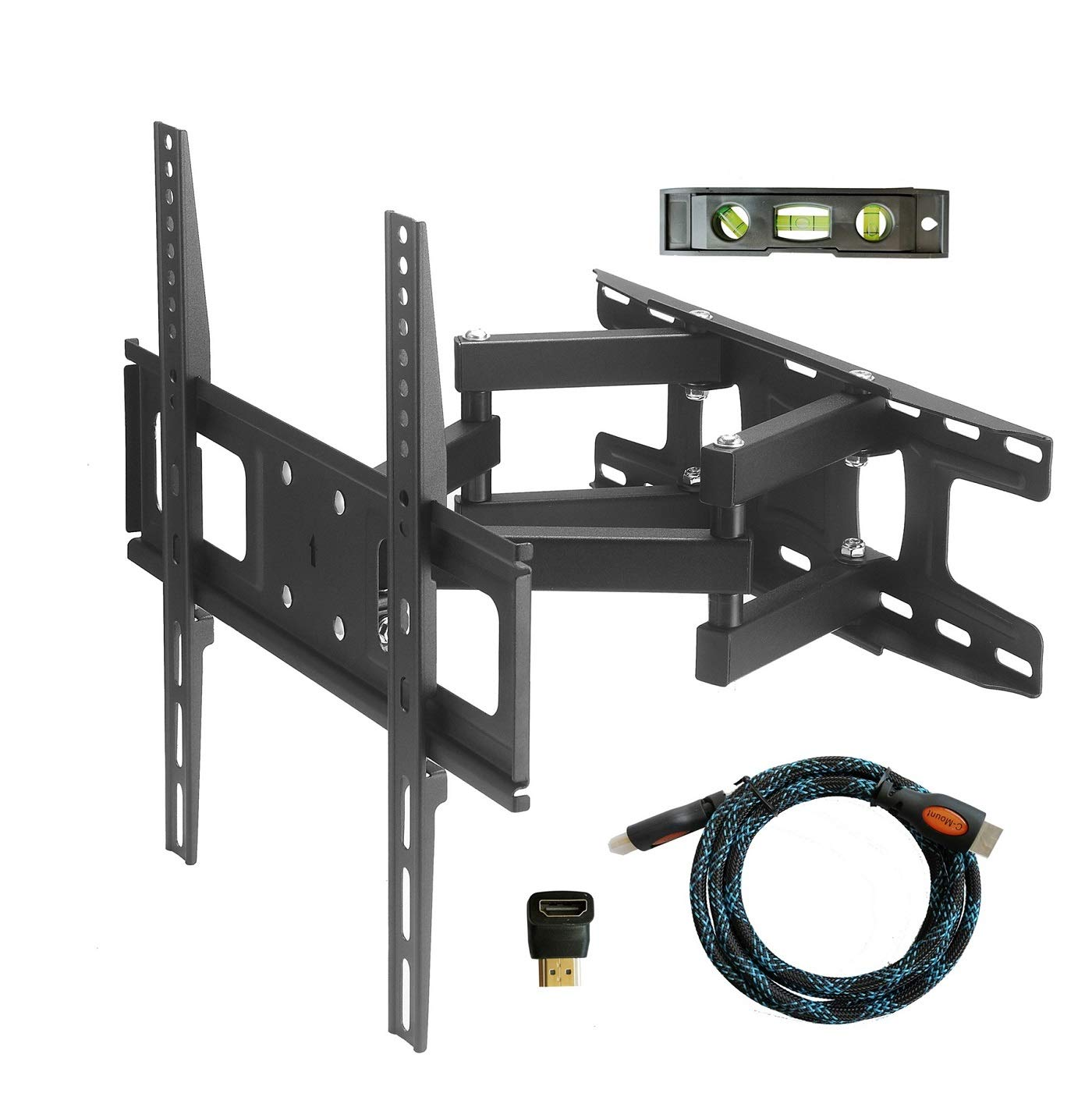TV Wall Mount Bracket with Full Motion Articulating Dual Arm Swivel Tilt fit 23 32 37 42 47 50 55 Inch Flat Screen TVs,VESA 400X400 and 110lbs,Fits up to 16'' Studs, Includes HDMI and HDMI Adapter by C-MOUNTS