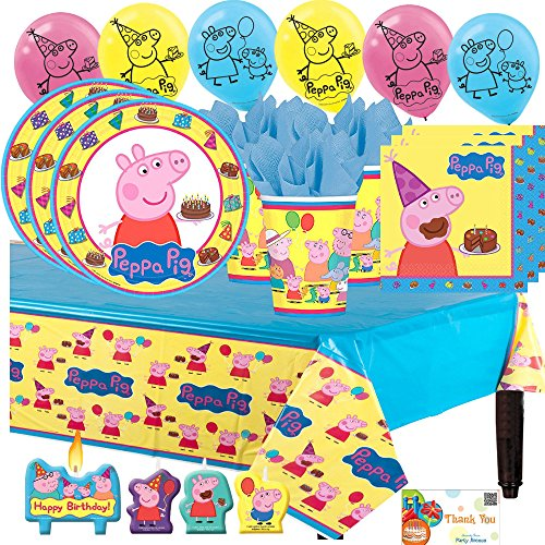 Peppa Pig Party Supply Birthday Pack for 16 with Plates, Napkins, Cups, Tablecover, Balloons, and Candles -