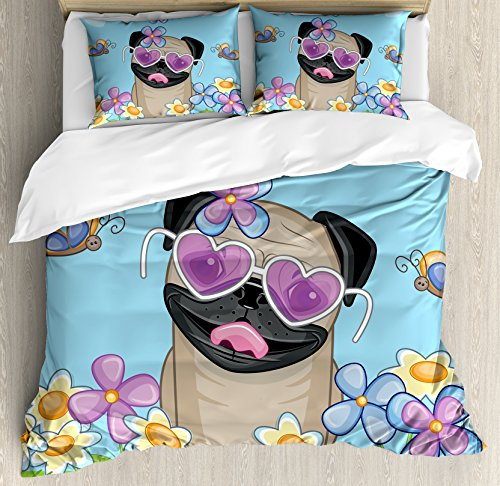 Ambesonne Pug Duvet Cover Set Queen Size, Adorable Puppy on The Field Flowers Butterflies Heart Shaped Clouds Open Sky, Decorative 3 Piece Bedding Set with 2 Pillow Shams, Sky Blue Multicolor