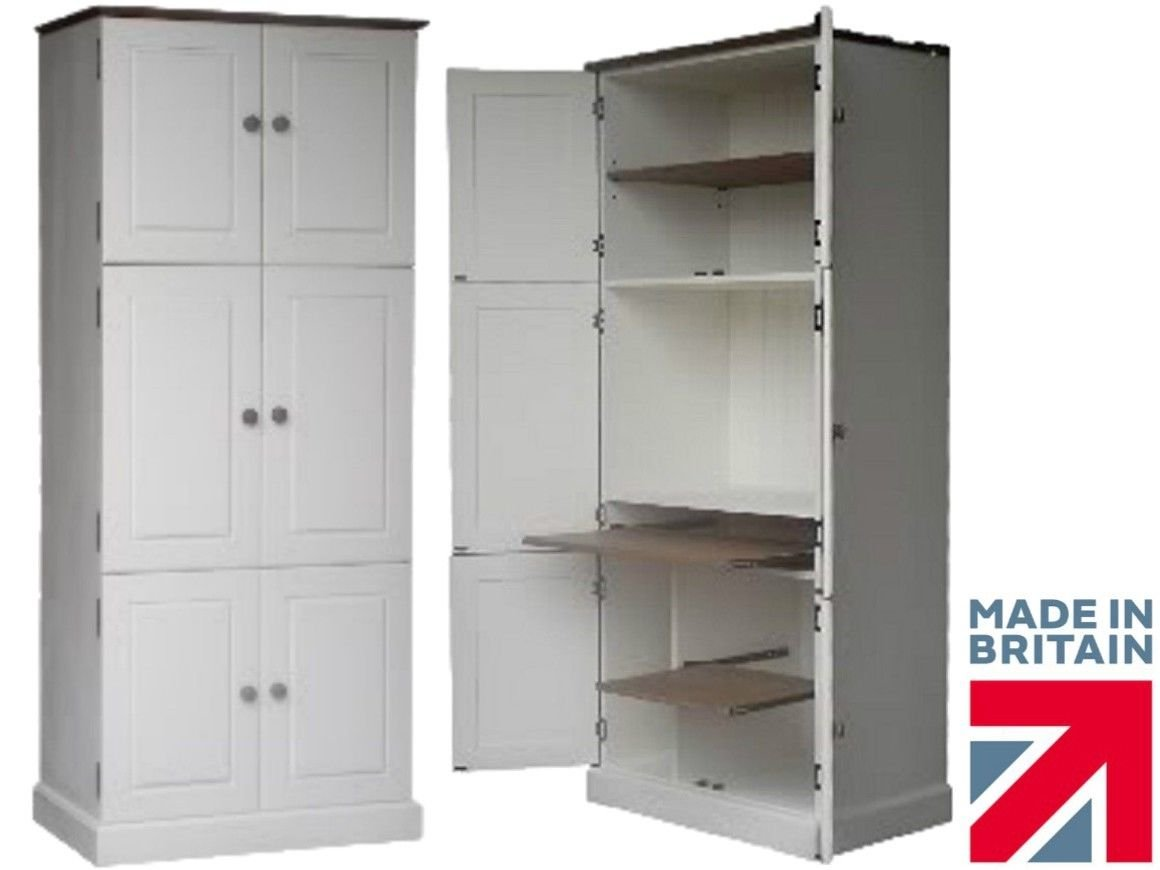 100% Solid Wood Computer Cupboard, Large 6 Door White Painted ...