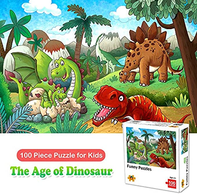 100 Piece Jigsaw Puzzles for Kids Ages 4-8 The Age of Dinosaur, Puzzles for Toddler Children