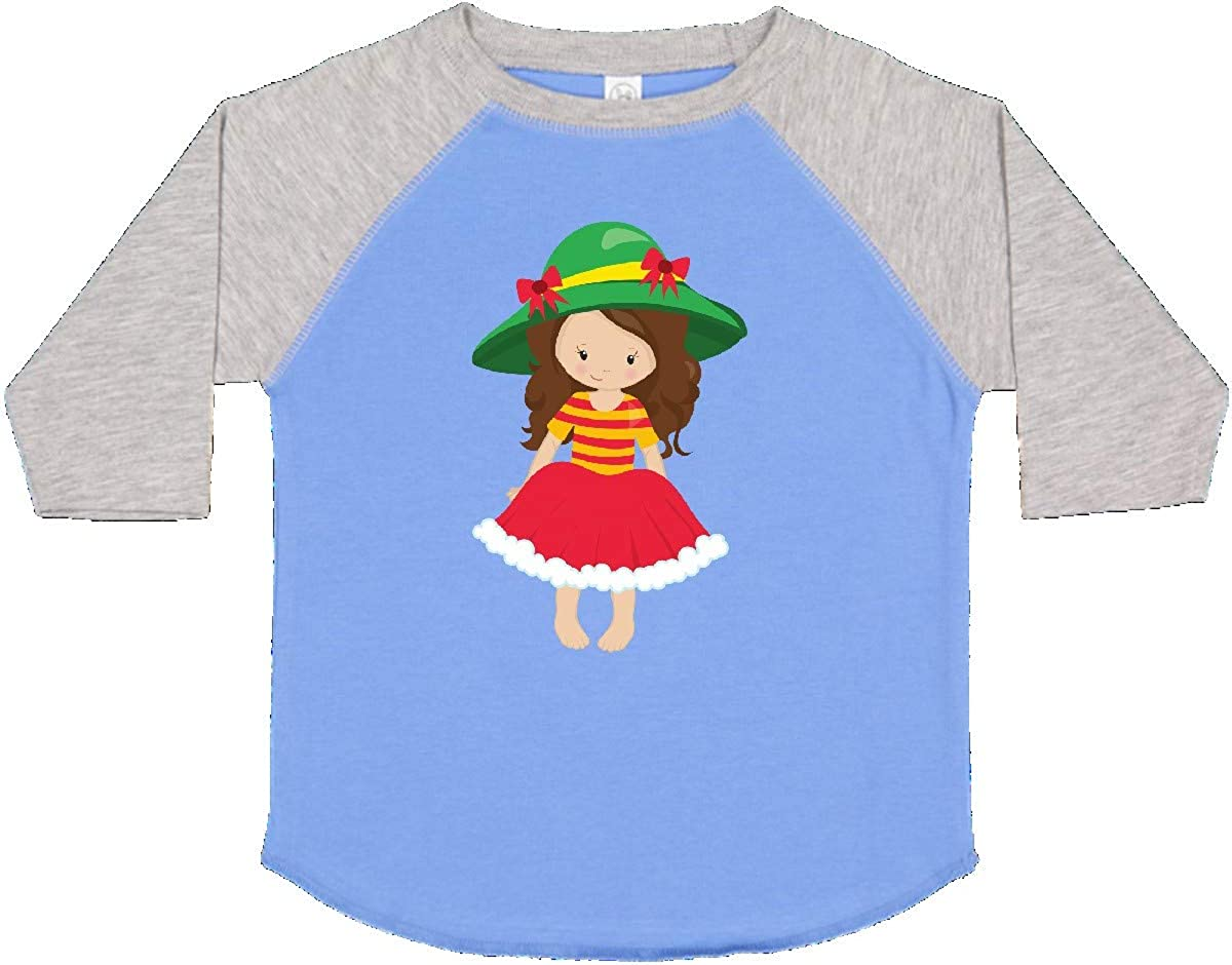 Green Hat Toddler T-Shirt Red Skirt inktastic Cute Girl Brown Hair