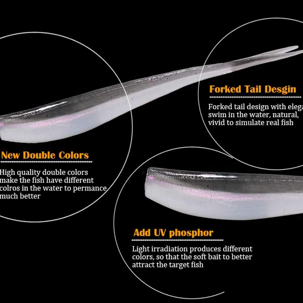 Luckiests 8PCS 75 Millimetri Coda biforcuta richiamo di Pesca in plastica PVC richiamo Morbido Swimbait Esche Artificiali per Fisherman