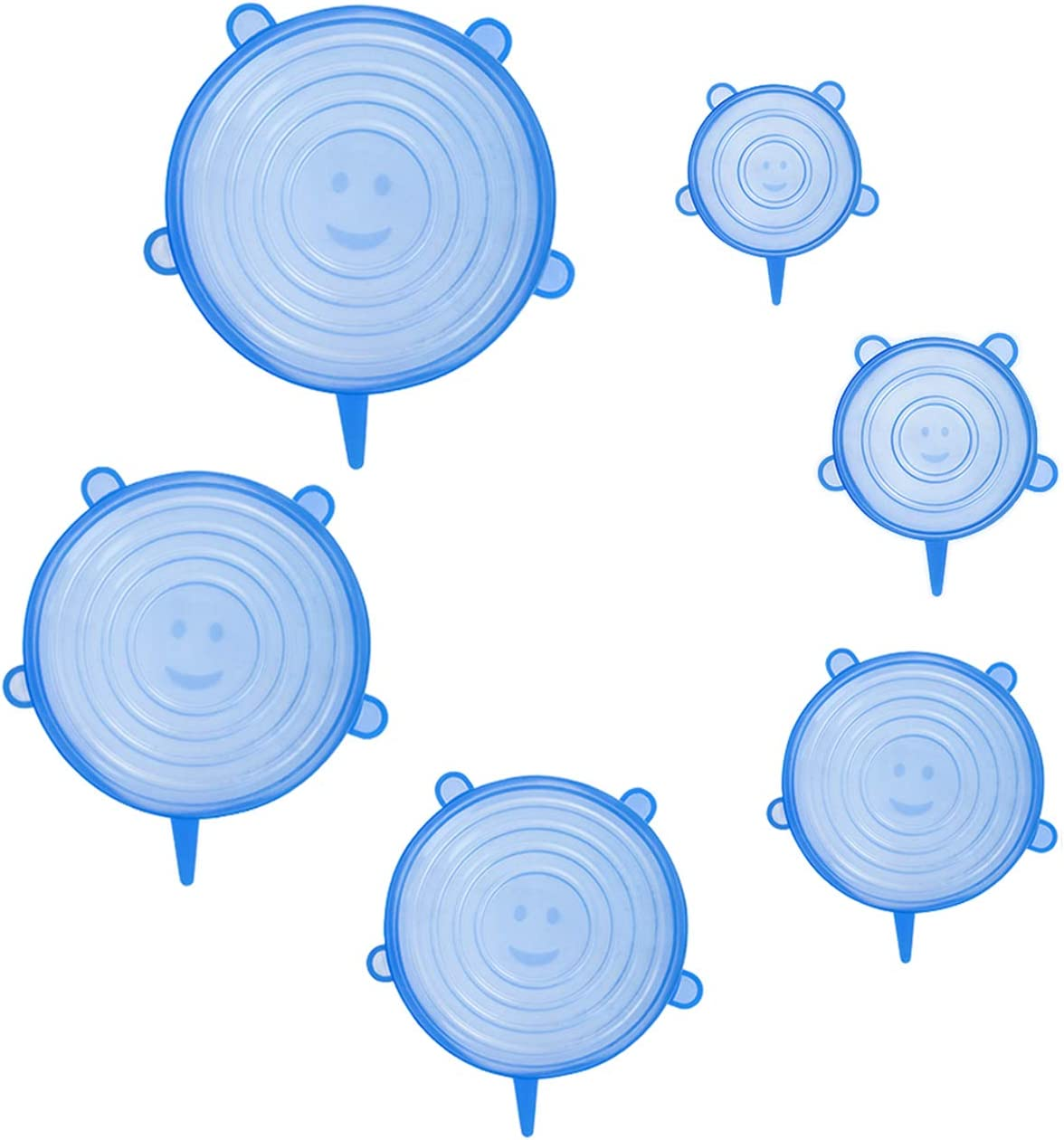 Silicone Stretch Lids Upgraded 6 Pack Various Sizes Rubber Stretchy Miracle Lid Reusable Elastic Bowl Cover for Food Storage Leftover Savers Fit Container Dish Cup (6, Blue)